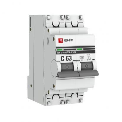 Автоматический выключатель ВА 47-63, 2P 20А (C) 4,5kA EKF PROxima