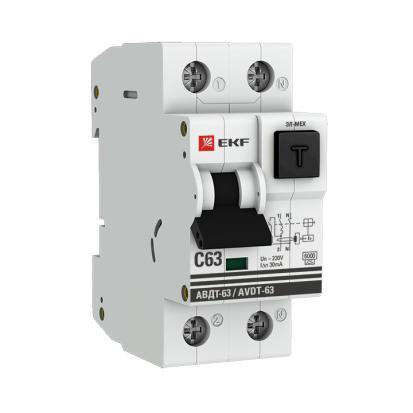 Дифференциальный автомат АВДТ-63 6А/30мА (хар-ка C, электронный тип A) 6кА EKF