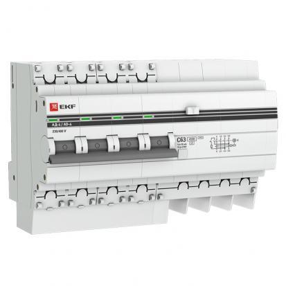 Дифференциальный автомат АД-4 50А/30мА (хар. C, AC, электронный, защита 270В) 4,5кА EKF PROxima