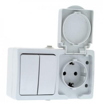 Венеция Блок Розетка-выключатель 2-клавишный 16А с заземлением с крышкой IP54 белый с защ. штор. EKF