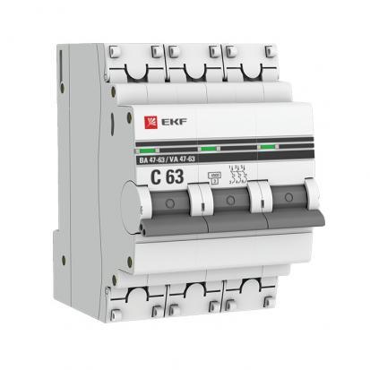 Автоматический выключатель ВА 47-63, 3P 3А (C) 4,5kA EKF PROxima