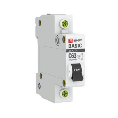 Автоматический выключатель ВА 47-29, 1P 40А (C) 4,5кА EKF Basic