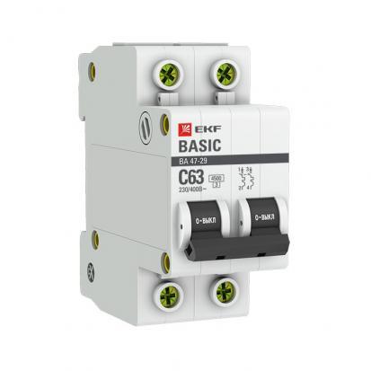 Автоматический выключатель ВА 47-29, 2P 25А (C) 4,5кА EKF Basic