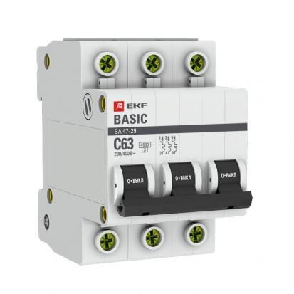Автоматический выключатель ВА 47-29, 3P 50А (C) 4,5кА EKF Basic