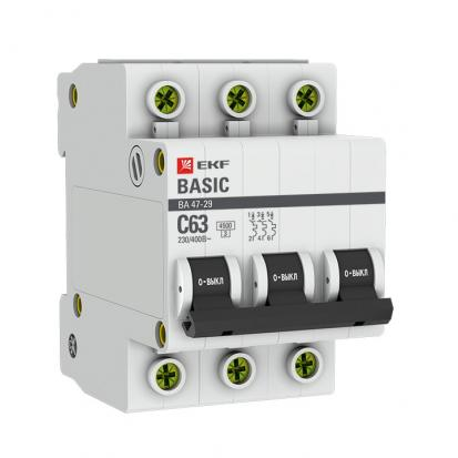 Автоматический выключатель ВА 47-29, 3P 63А (C) 4,5кА EKF Basic