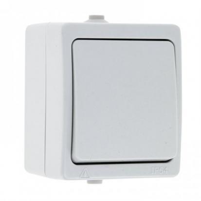 Венеция Выключатель 1 -клавишный 10А IP54 белый EKF