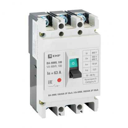 Автоматический выключатель ВА-99МL 100/63А 3P 18кА EKF Basic