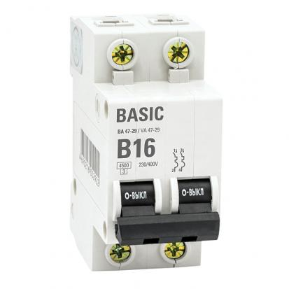 Автоматический выключатель 2P 16А (B) 4,5кА ВА 47-29 EKF Basic