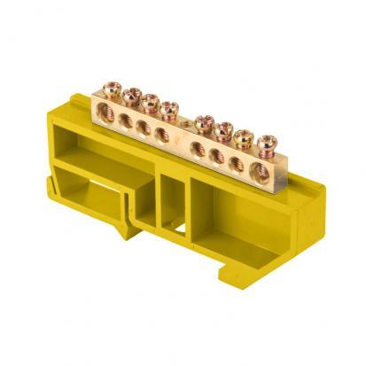"""Шина """"0"""" N (6х9мм) _8 отверстий латунь желтый изолятор на DIN-рейку EKF PROxima"""
