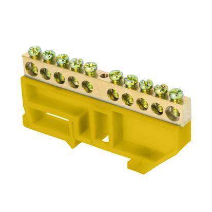 """Шина """"0"""" N (6х9мм) 10 отверстий латунь желтый изолятор на DIN-рейку EKF PROxima"""