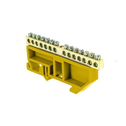 """Шина """"0"""" N (6х9мм) 14 отверстий латунь желтый изолятор на DIN-рейку EKF PROxima"""