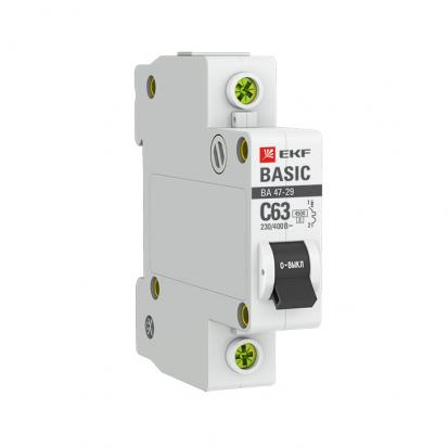 Автоматический выключатель ВА 47-29, 1P 63А (C) 4,5кА EKF Basic
