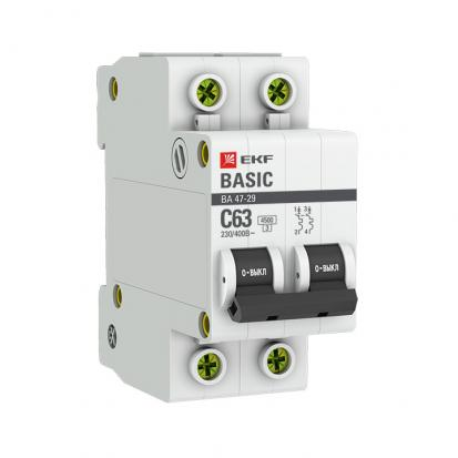 Автоматический выключатель ВА 47-29, 2P 50А (C) 4,5кА EKF Basic