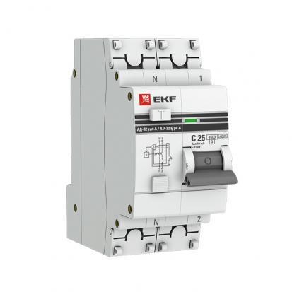 Дифференциальный автомат АД-32 1P+N 50А/30мА (хар. C, AC, электронный, защита 270В) 4,5кА EKF PROxim