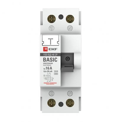 Устройство защитного отключения УЗО ВДТ-40 2P 40А/ 30мА (электронное) EKF Basic