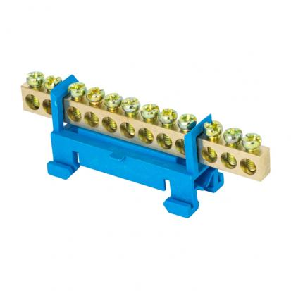 """Шина """"0"""" N (6х9мм) 12 отверстий латунь синий изолятор тип """"Стойка"""" на DIN-рейку EKF PROxima"""