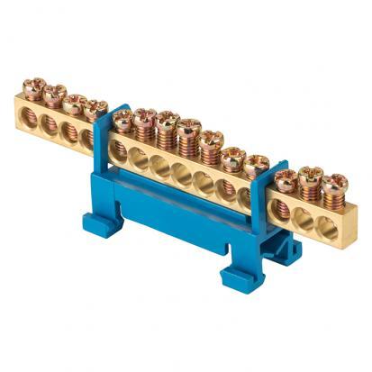 """Шина """"0"""" N (6х9мм) 14 отверстий латунь синий изолятор тип """"Стойка"""" на DIN-рейку EKF PROxima"""