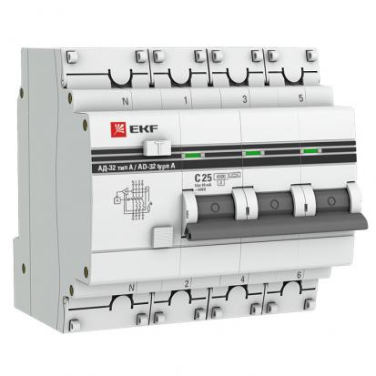 Дифференциальный автомат АД-32 3P+N 40А/30мА (хар. C, AC, электронный, защита 270В) 4,5кА EKF PROxim