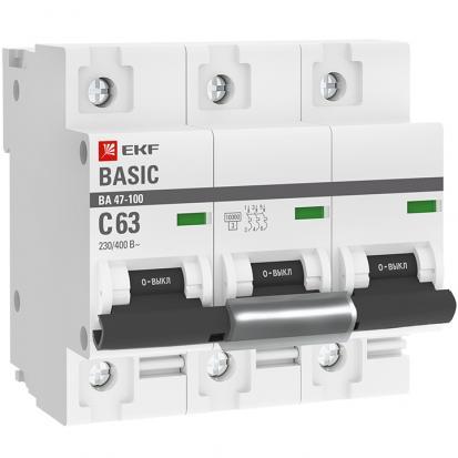 Автоматический выключатель ВА 47-100, 3P 63А (C) 10kA EKF Basic