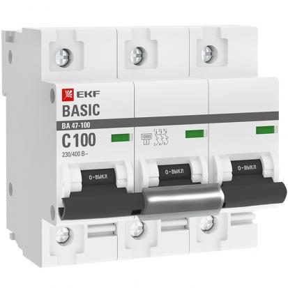 Автоматический выключатель ВА 47-100, 3P 100А (C) 10kA EKF Basic