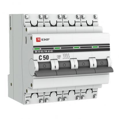 Автоматический выключатель ВА 47-63, 4P 50А (C) 4,5kA EKF PROxima