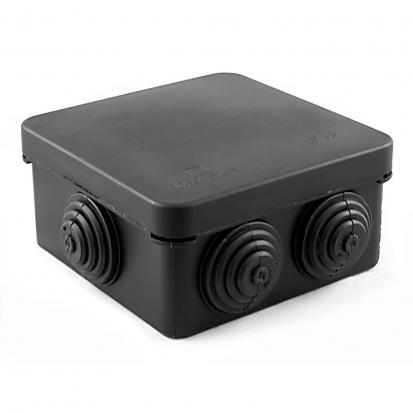 Коробка распределительная 40-0210-9005 для о/п безгалогенная (HF) 80х80х40 (105шт/кор) ЧЕРНАЯ