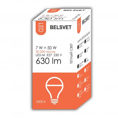 Лампа LED-M A60 7W 3000K E27 Belsvet в красочной упаковке