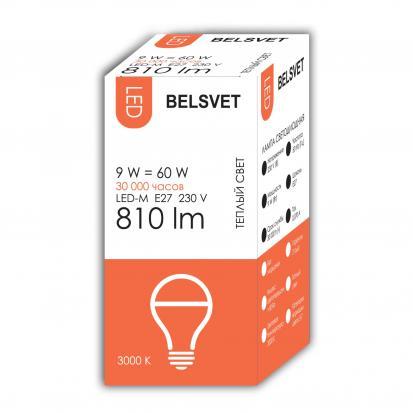Лампа LED-M A60 9W 3000K E27 Belsvet в красочной упаковке