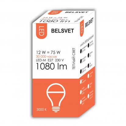 Лампа LED-M A60 12W 3000K E27 Belsvet в красочной упаковке