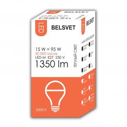 Лампа LED-M A65 15W 3000K E27 Belsvet в красочной упаковке