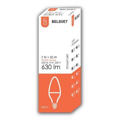 Лампа LED-M C37 7W 3000K E14 Belsvet в красочной упаковке
