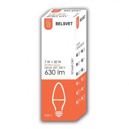 Лампа LED-M C37 7W 3000K E27 Belsvet в красочной упаковке
