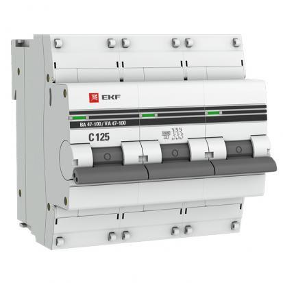 Автоматический выключатель ВА 47-100, 3P 50А (C) 10kA EKF PROxima