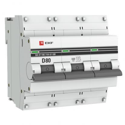 Автоматический выключатель ВА 47-100, 3P 80А (D) 10kA  EKF PROxima