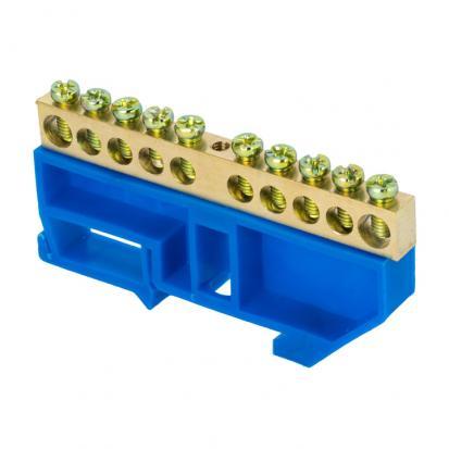 """Шина """"0"""" N (6х9мм) 10 отверстий латунь синий изолятор на DIN-рейку EKF PROxima"""