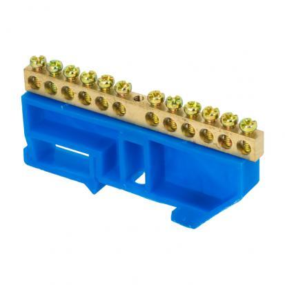 """Шина """"0"""" N (6х9мм) 12 отверстий латунь синий изолятор на DIN-рейку EKF PROxima"""